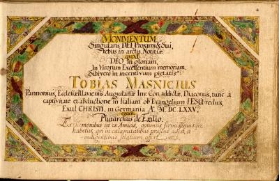 Masnicius Tóbiás gályarab lelkész  naplója