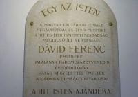 Dávid Ferenc emléktábla 1929.