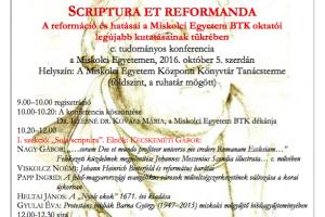 Scriptura et reformanda - A reformáció és hatásai a Miskolci Egyetem BTK oktatói legújabb kutatásainak tükrében
