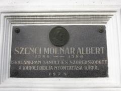 Szenczi Molnár Albert emléktábla