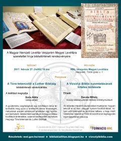 Bibliatörténeti előadások a Veszprém Megyei Levéltárban