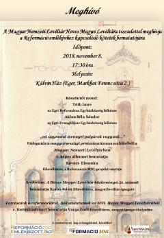 Meghívó - a Reformáció emlékévhez kapcsolódó kötetek egri bemutatójára