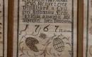 Gyügyei Református Templom belső tere - Ez Isten házában lévő Mennyezetet Tsináltatta a Gyü gyei Reformáta Szent Eklésia a magok köl Tsigekkel Isten Dicsőségére 1767  12 október