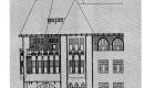 MENDE VALÉR: A KECSKEMÉTI ÁG. EVANGÉLIKUS EGYHÁZ BÉRHAZA ÉPÍTKEZÉSE, HOMLOKZAT, 1910. JÚNIUS 6. KARTON, FÉNYMÁSOLAT 47x37 CM  BKML.